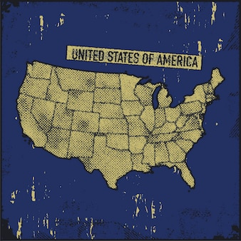 Illustration De Style Grunge Carte Usa. Vecteur Premium