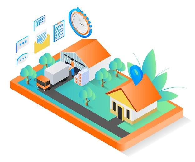 Illustration de style isométrique du bon de livraison avec camion et smartphone