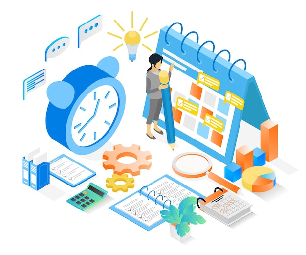 Illustration de style isométrique du calendrier de planification d'entreprise avec caractères et date