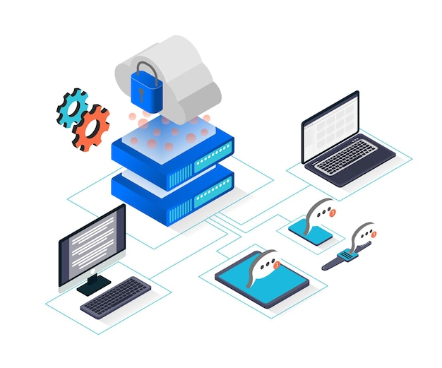 Illustration de style isométrique du stockage en nuage avec ordinateur portable et serveur informatique