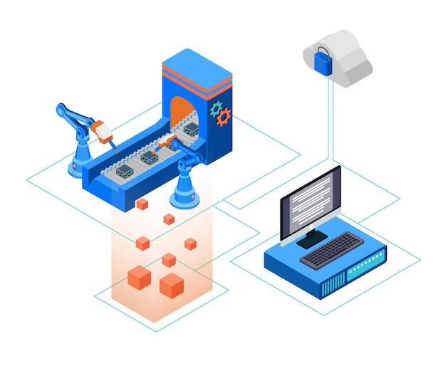 Illustration de style isométrique du stockage en nuage de production avec ordinateur serveur
