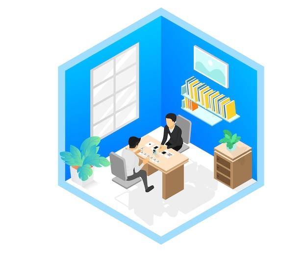 Illustration de style isométrique d'un entretien d'embauche ou d'une discussion d'entreprise