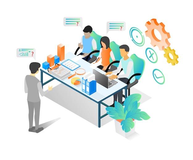 Illustration de style isométrique sur une équipe commerciale ayant une réunion et une discussion sur la croissance de l'entreprise