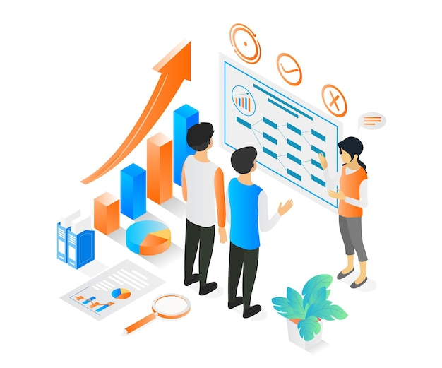 Illustration de style isométrique sur une femme faisant une présentation d'entreprise à son équipe ou à son client