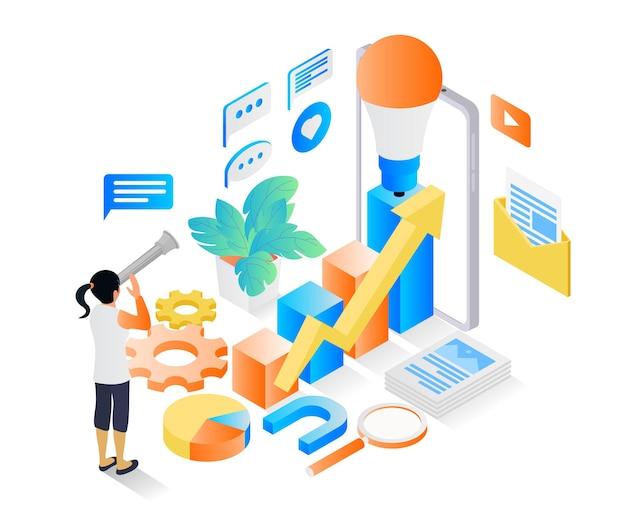 Illustration de style isométrique sur les idées de stratégie commerciale pour la croissance de l'entreprise