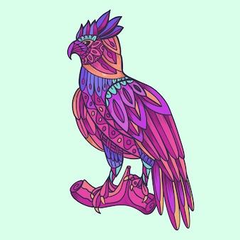 Illustration de style mandala aigle coloré