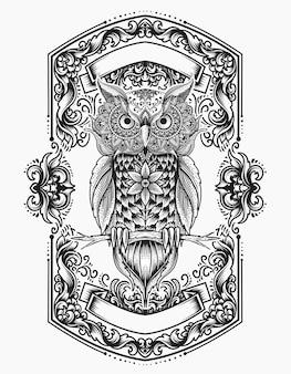 Illustration de style mandala oiseau hibou avec ornement de gravure