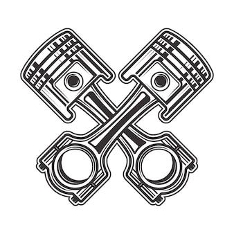 Illustration de style monochrome de deux pistons croisés isolé sur fond blanc