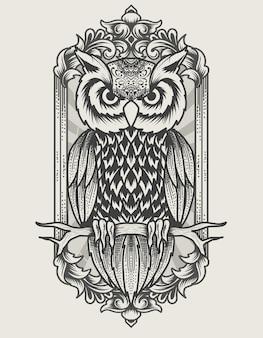 Illustration de style monochrome oiseau hibou vintage