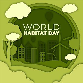 Illustration de style papier pour la journée mondiale de l'habitat