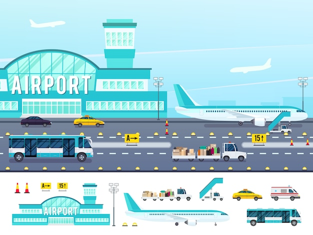 Illustration de style plat aéroport