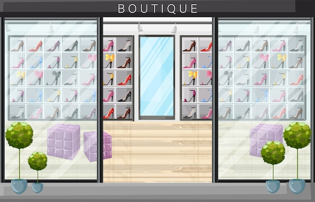 Illustration de style plat boutique de magasin de chaussures