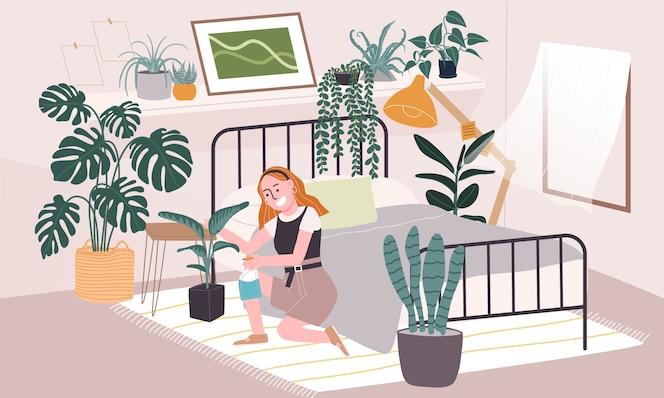 Illustration de style plat du personnage de femme de bande dessinée en prenant soin des plantes d'intérieur dans la chambre. activité de la vie quotidienne pendant la quarantaine. concept d'idées de passe-temps qui peuvent faire à la maison.