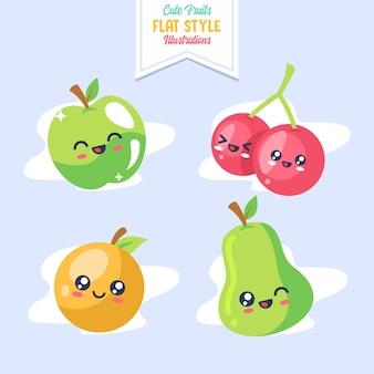 Illustration de style plat de fruits mignons