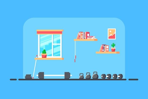 Illustration de style plat de l'intérieur du gymnase. barre lourde pour soulevé de terre et équipement de gymnastique supplémentaire.