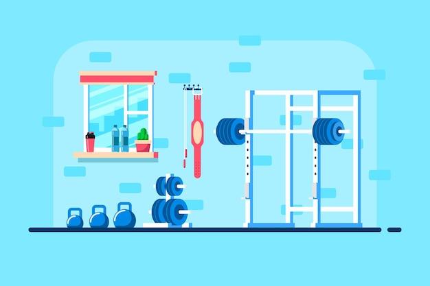 Illustration de style plat de l'intérieur du gymnase. haltère lourde, support de squat et équipement de gym supplémentaire.