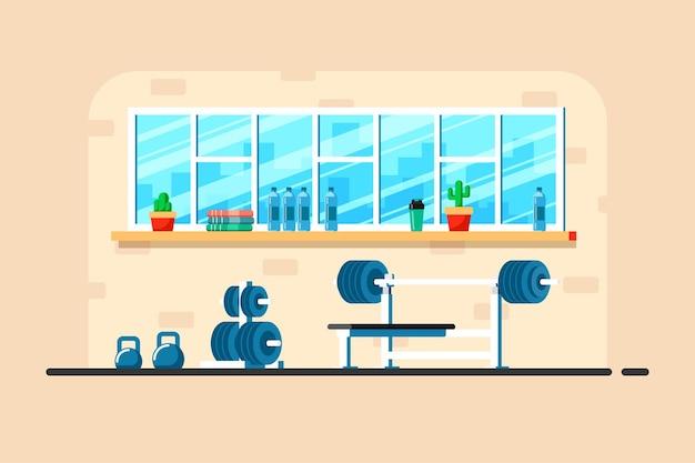 Illustration de style plat de l'intérieur du gymnase. haltères lourdes, porte-haltères et équipement de gymnastique supplémentaire.