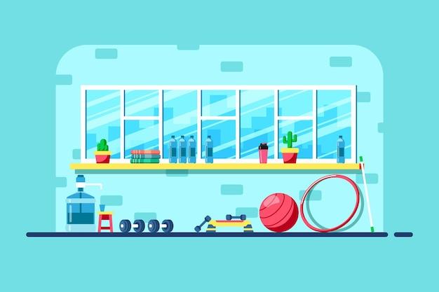 Illustration de style plat de l'intérieur de la salle de sport. équipement de sport de remise en forme.
