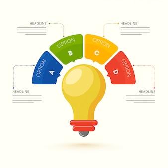 Illustration de style plat de modèle infographique ampoule