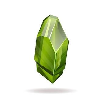 Illustration de style plat vecteur cristal vert cristal réaliste volumétrique isolé sur fond blanc