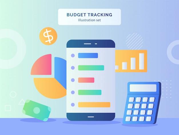 Illustration de suivi du budget mis smartphone de l'icône de dollar d'argent calculatrice camembert avec style plat
