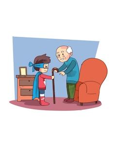 Illustration de super héros enfant aidant vieux grand-père