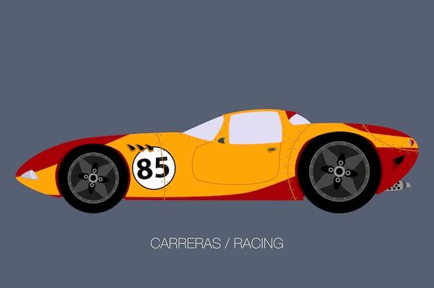Illustration de supercar rétro de course