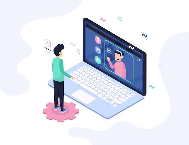 Illustration de support client isométrique