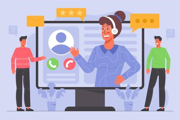 Illustration de support client plat organique