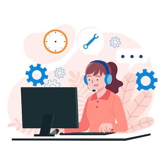 Illustration de support client plat