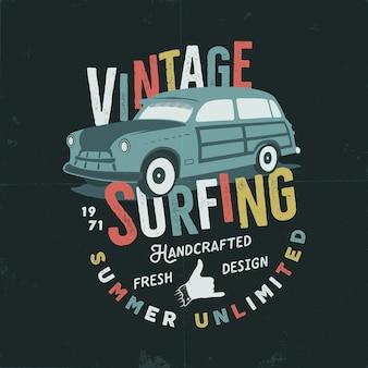 Illustration de surf dessinée à la main vintage