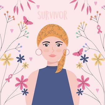 Illustration de survivant du cancer femme avec des fleurs
