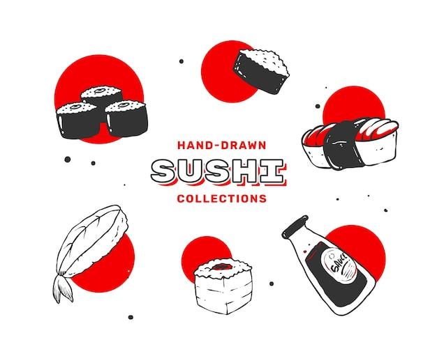 Illustration de sushi dessinés à la main en noir et rouge.