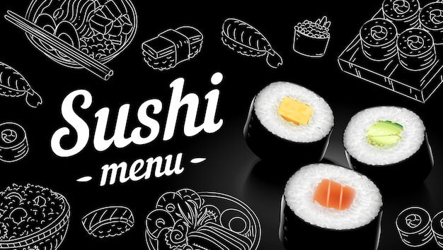 Illustration de sushi menu croquis cover.clip art.