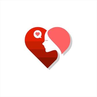 Illustration de symbole de coeur de vecteur d'amour de femme