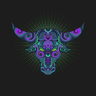 Illustration de symbole tête taureau ornement
