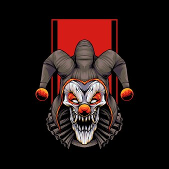 Illustration de t-shirt de clown maléfique vecteur premium