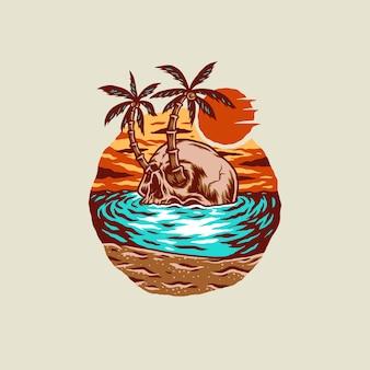 Illustration de t-shirt crâne plage d'été