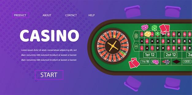 Illustration de table verte de jeu de roulette de casino