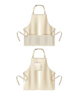 Illustration de tabliers de cuisine en coton blanc beige avec rectangle