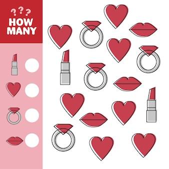 Illustration de la tâche de comptage éducative pour les enfants avec des coeurs de dessins animés, des bagues, des lèvres, des articles pour femmes