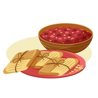 Illustration de tamales plat bio