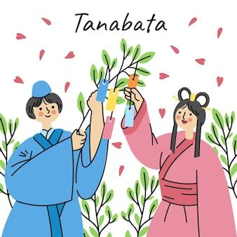 Illustration de tanabata dessinée à la main