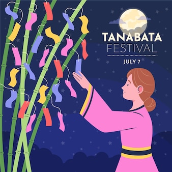 Illustration de tanabata plat organique