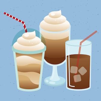 Illustration de tasse et tasse en verre de café glacé