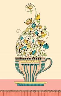 Illustration avec une tasse de thé aux fleurs aromatiques