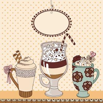 Illustration avec des tasses de café