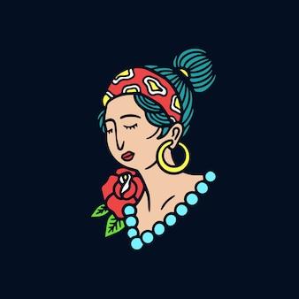 Illustration de tatouage old school hipster fille dessinés à la main