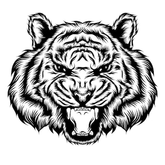 L'illustration de tatouage de la tête unique de tigre et ouvre la bouche