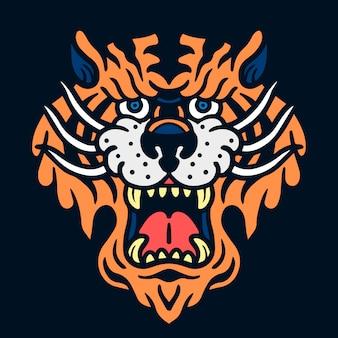 Illustration de tatouage vieille école tigre en colère mignon